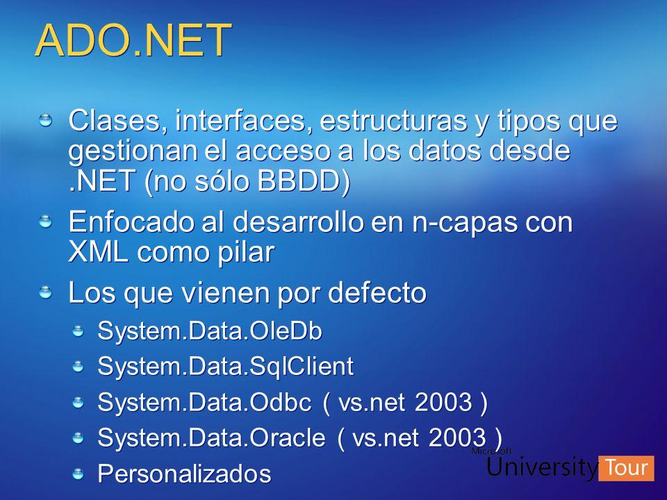 ADO.NET Clases, interfaces, estructuras y tipos que gestionan el acceso a los datos desde.NET (no sólo BBDD) Enfocado al desarrollo en n-capas con XML