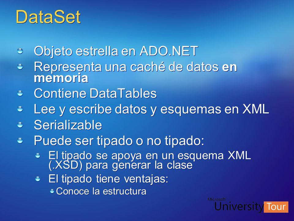 DataSet Objeto estrella en ADO.NET Representa una caché de datos en memoria Contiene DataTables Lee y escribe datos y esquemas en XML Serializable Pue