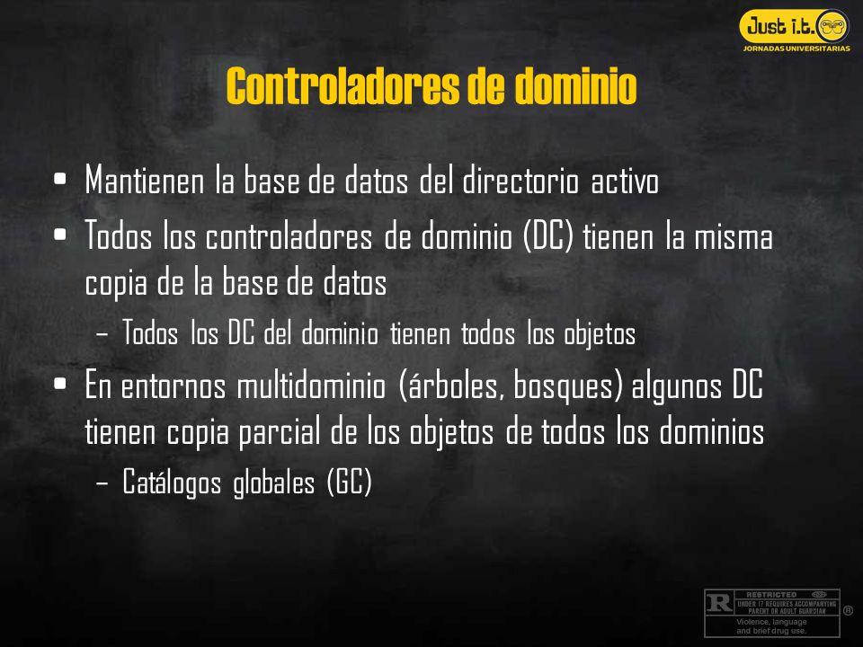 Controladores de dominio Mantienen la base de datos del directorio activo Todos los controladores de dominio (DC) tienen la misma copia de la base de datos –Todos los DC del dominio tienen todos los objetos En entornos multidominio (árboles, bosques) algunos DC tienen copia parcial de los objetos de todos los dominios –Catálogos globales (GC)