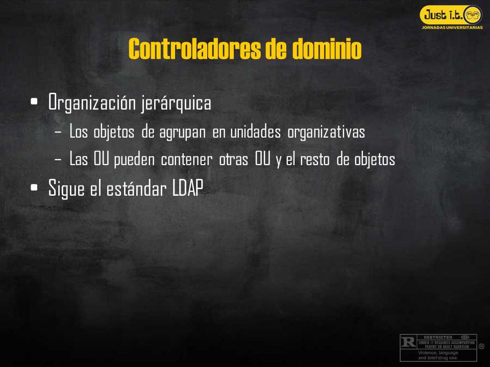 Controladores de dominio Organización jerárquica –Los objetos de agrupan en unidades organizativas –Las OU pueden contener otras OU y el resto de objetos Sigue el estándar LDAP