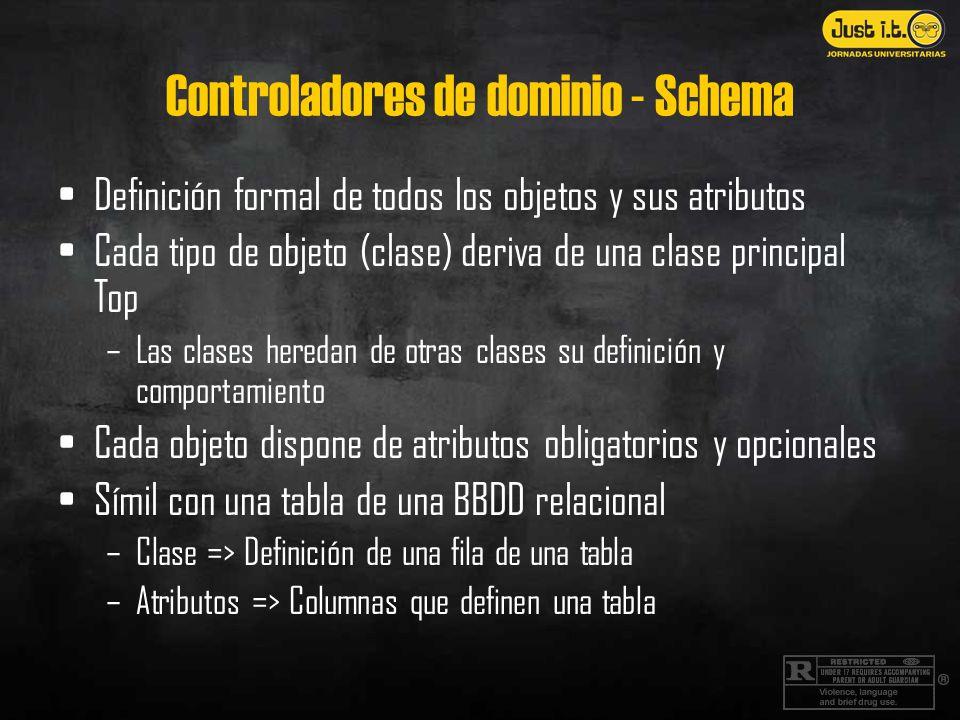 Controladores de dominio - Schema Definición formal de todos los objetos y sus atributos Cada tipo de objeto (clase) deriva de una clase principal Top –Las clases heredan de otras clases su definición y comportamiento Cada objeto dispone de atributos obligatorios y opcionales Símil con una tabla de una BBDD relacional –Clase => Definición de una fila de una tabla –Atributos => Columnas que definen una tabla