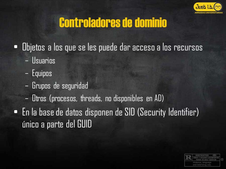 Controladores de dominio Objetos a los que se les puede dar acceso a los recursos –Usuarios –Equipos –Grupos de seguridad –Otros (procesos, threads, no disponibles en AD) En la base de datos disponen de SID (Security Identifier) único a parte del GUID