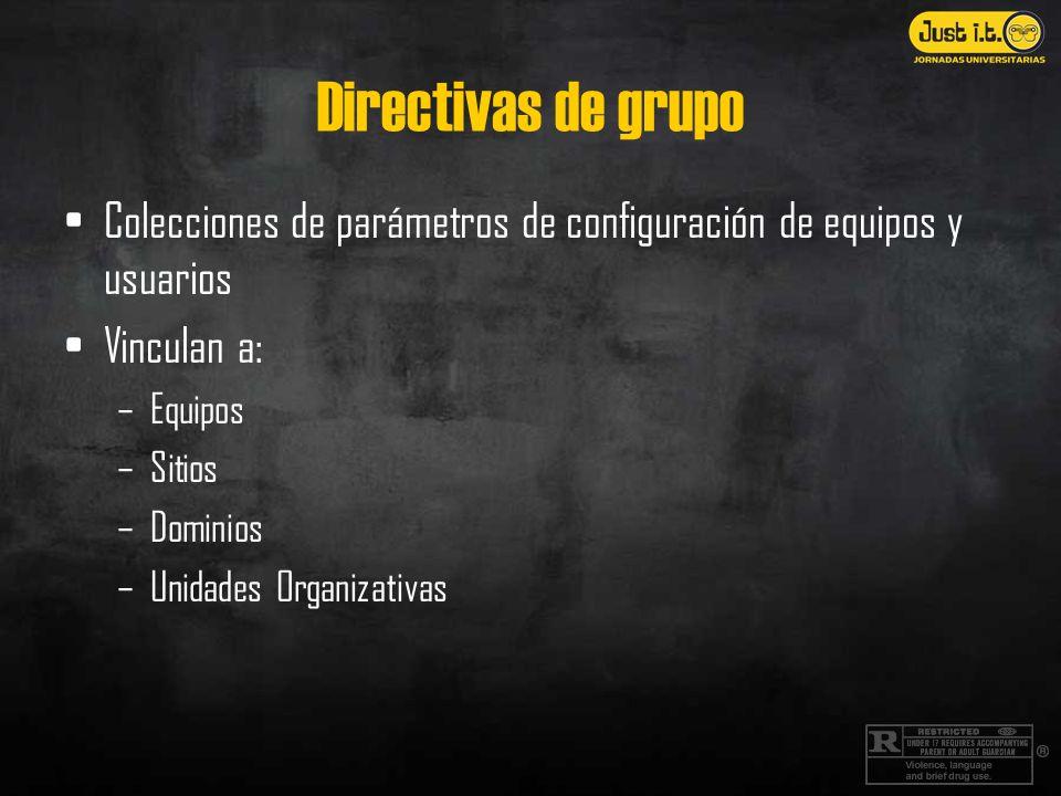 Directivas de grupo Colecciones de parámetros de configuración de equipos y usuarios Vinculan a: –Equipos –Sitios –Dominios –Unidades Organizativas
