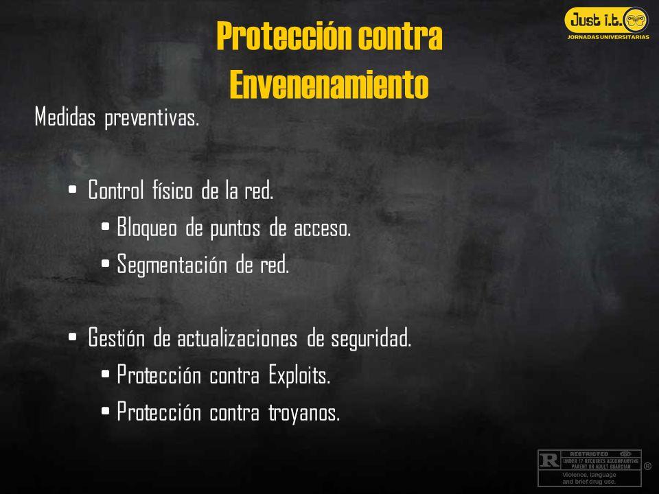 Protección contra Envenenamiento Medidas preventivas. Control físico de la red. Bloqueo de puntos de acceso. Segmentación de red. Gestión de actualiza