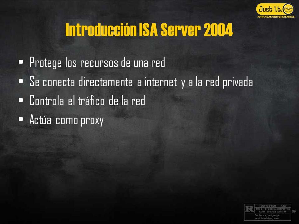 Introducción ISA Server 2004 Protege los recursos de una red Se conecta directamente a internet y a la red privada Controla el tráfico de la red Actúa como proxy