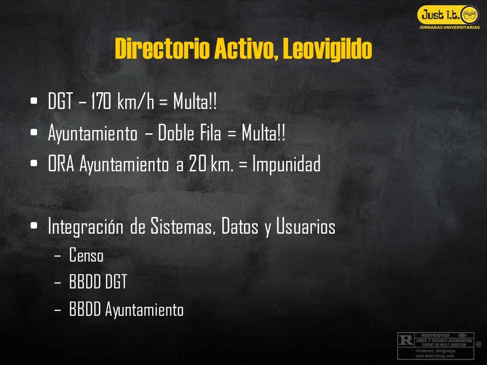 Directorio Activo, Leovigildo DGT – 170 km/h = Multa!! Ayuntamiento – Doble Fila = Multa!! ORA Ayuntamiento a 20 km. = Impunidad Integración de Sistem