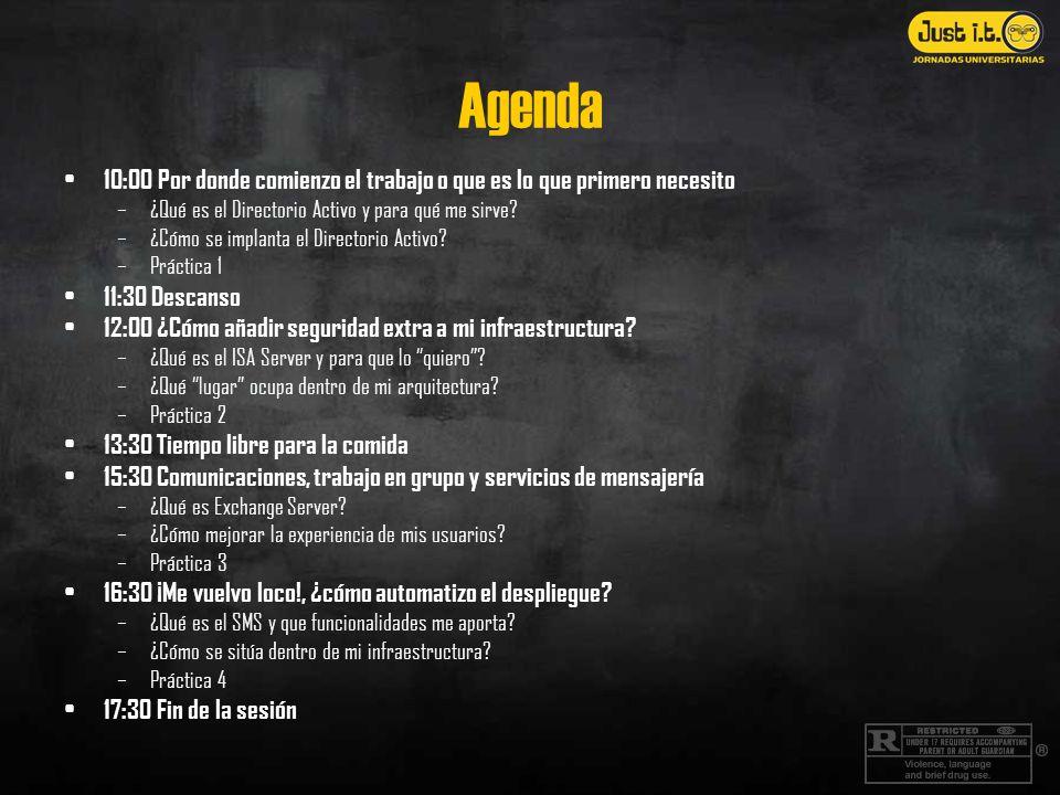 Agenda 10:00 Por donde comienzo el trabajo o que es lo que primero necesito –¿Qué es el Directorio Activo y para qué me sirve? –¿Cómo se implanta el D