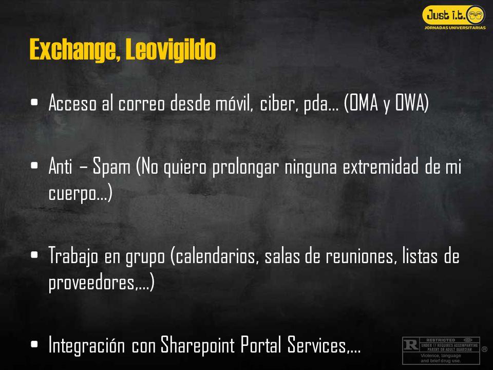 Exchange, Leovigildo Acceso al correo desde móvil, ciber, pda… (OMA y OWA) Anti – Spam (No quiero prolongar ninguna extremidad de mi cuerpo…) Trabajo
