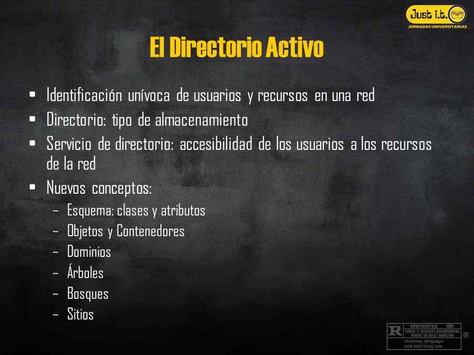 El Directorio Activo Identificación unívoca de usuarios y recursos en una red Directorio: tipo de almacenamiento Servicio de directorio: accesibilidad