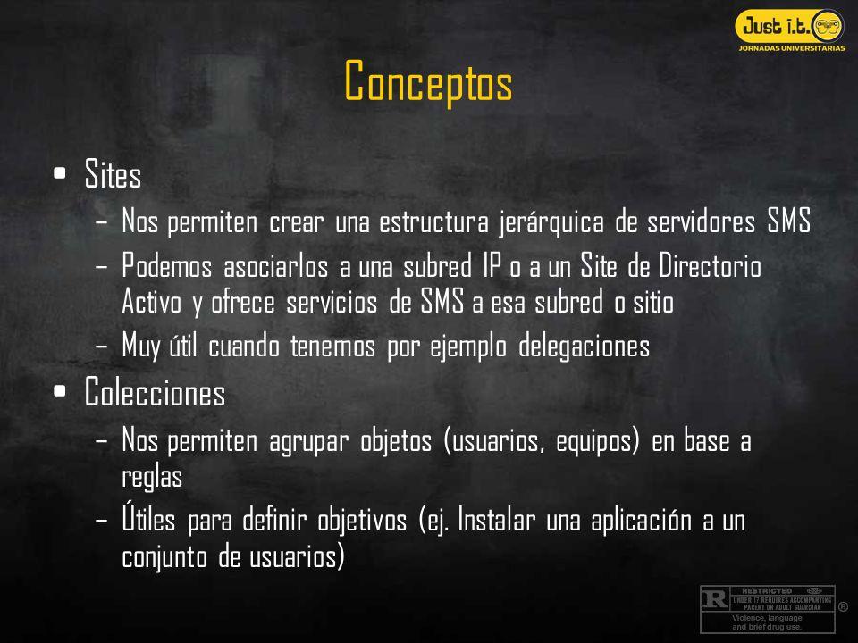 Conceptos Sites –Nos permiten crear una estructura jerárquica de servidores SMS –Podemos asociarlos a una subred IP o a un Site de Directorio Activo y ofrece servicios de SMS a esa subred o sitio –Muy útil cuando tenemos por ejemplo delegaciones Colecciones –Nos permiten agrupar objetos (usuarios, equipos) en base a reglas –Útiles para definir objetivos (ej.