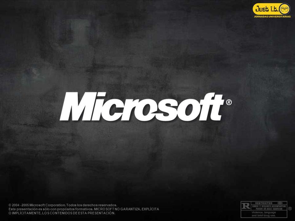 © 2004 -2005 Microsoft Corporation. Todos los derechos reservados. Esta presentación es sólo con propósitos formativos. MICROSOFT NO GARANTIZA, EXPLÍC