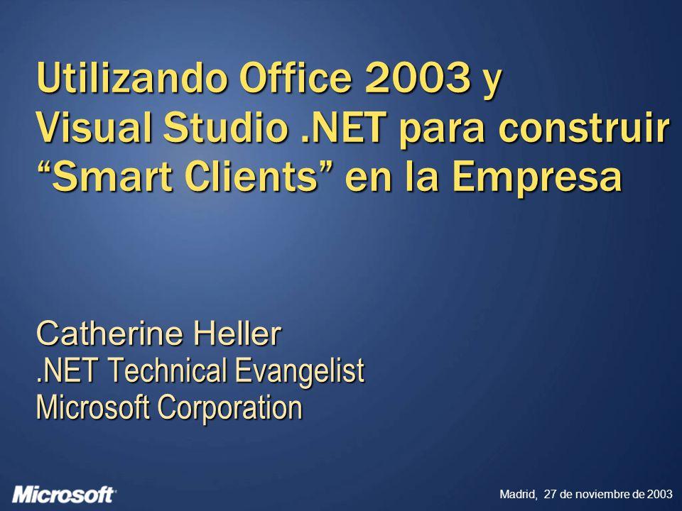 Madrid, 27 de noviembre de 2003 Visual Studio Tools for Office Objetivos de diseño Seguro Más fiable Fácil de desplegar y mantener Más fácil de actualizar Más rápido de desarrollar Facilitar a desarrolladores, utilizando la potencia completa de Visual Studio.NET, el uso de Office como plataforma encima de la cual pueden construir y desplegar soluciones de negocio completas.