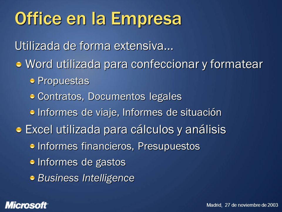 Madrid, 27 de noviembre de 2003 Office en la Empresa Utilizada de forma extensiva... Word utilizada para confeccionar y formatear Propuestas Contratos