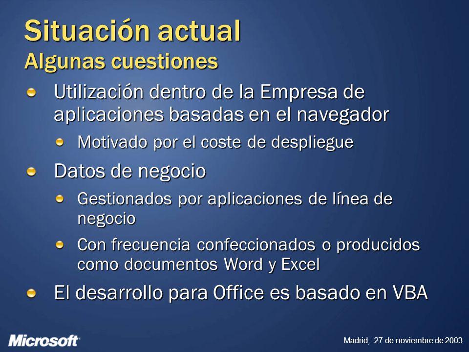 Madrid, 27 de noviembre de 2003 Visual Studio Tools for Office Versión 2003 – Disponible desde octubre, 2003 Tipos de proyecto VS.NET para VB.NET y C# Documento Word, Plantilla Word, Hoja de cálculo Excel Mayor seguridad proporcionada por el.NET Framework Mayor fiabilidad y más facil actualización debido al modelo de coexistencia de versiones del.NET Framework (side-by-side execution) Facilidad de despliegue a través del No-touch deployment del.NET Framework Mayor productividad proporcionada por el.NET Framework