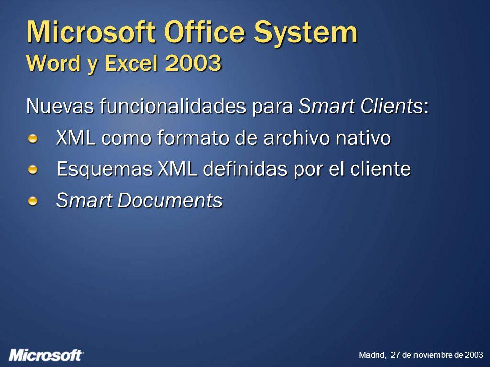 Madrid, 27 de noviembre de 2003 Microsoft Office System Word y Excel 2003 Nuevas funcionalidades para Smart Clients: XML como formato de archivo nativ