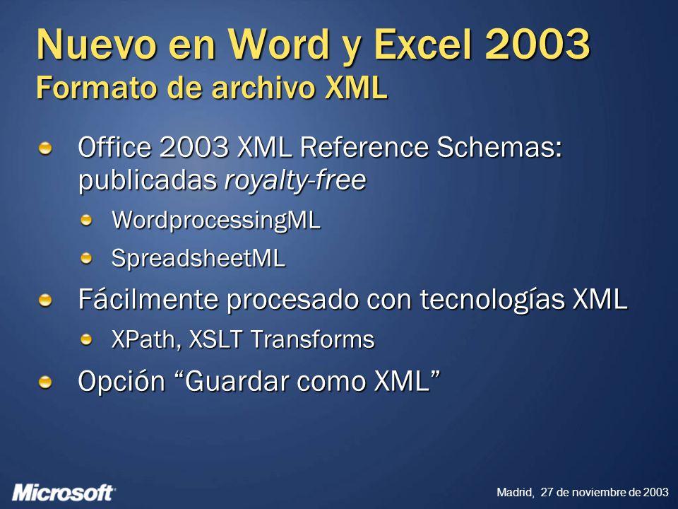 Madrid, 27 de noviembre de 2003 Nuevo en Word y Excel 2003 Formato de archivo XML Office 2003 XML Reference Schemas: publicadas royalty-free Wordproce
