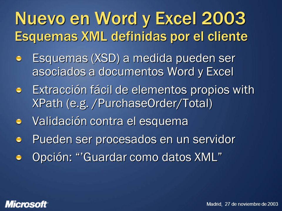 Madrid, 27 de noviembre de 2003 Nuevo en Word y Excel 2003 Esquemas XML definidas por el cliente Esquemas (XSD) a medida pueden ser asociados a docume