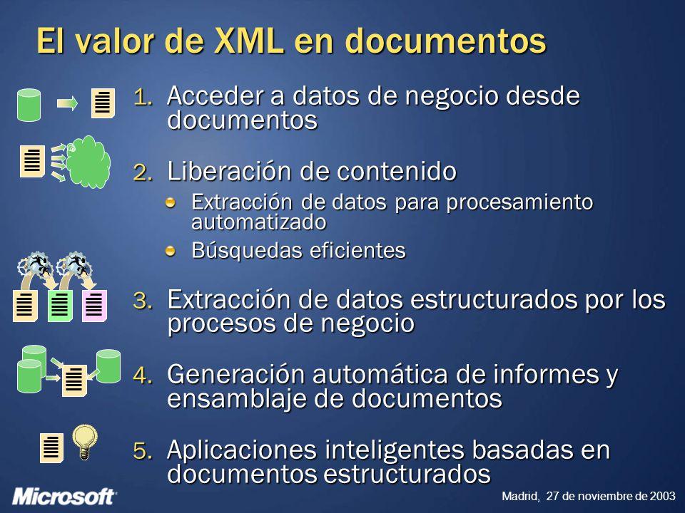 Madrid, 27 de noviembre de 2003 El valor de XML en documentos 1. Acceder a datos de negocio desde documentos 2. Liberación de contenido Extracción de