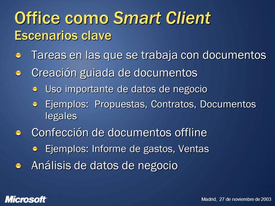 Madrid, 27 de noviembre de 2003 Office como Smart Client Escenarios clave Tareas en las que se trabaja con documentos Creación guiada de documentos Us