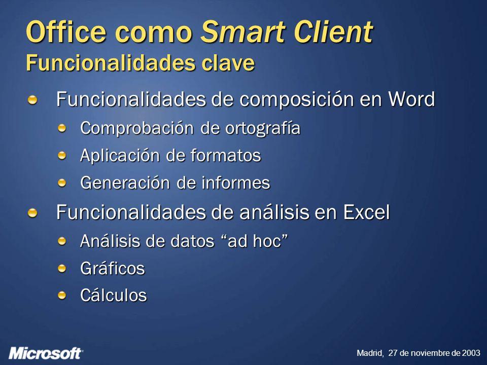 Madrid, 27 de noviembre de 2003 Office como Smart Client Funcionalidades clave Funcionalidades de composición en Word Comprobación de ortografía Aplic
