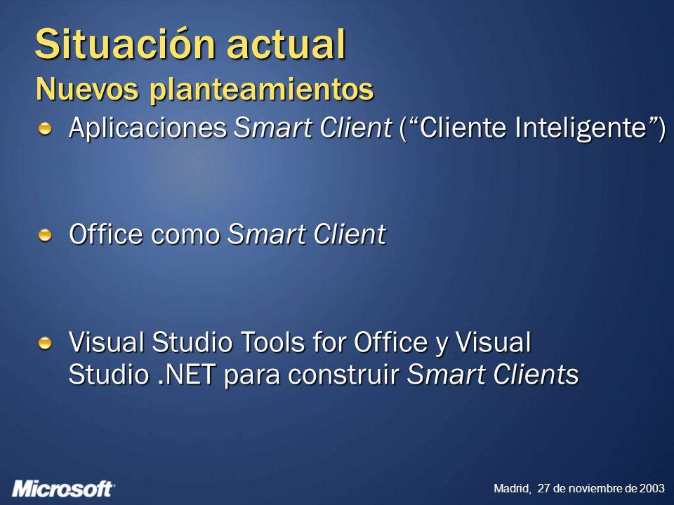 Madrid, 27 de noviembre de 2003 Agenda Repaso de Smart Clients ¿Qué es un Smart Client.