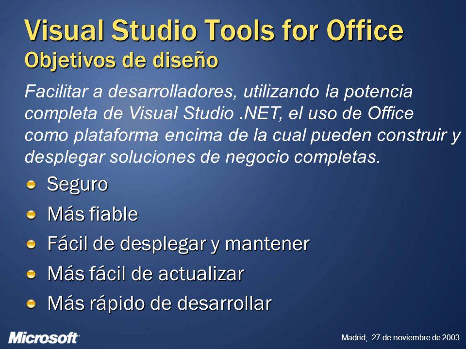 Madrid, 27 de noviembre de 2003 Visual Studio Tools for Office Objetivos de diseño Seguro Más fiable Fácil de desplegar y mantener Más fácil de actual
