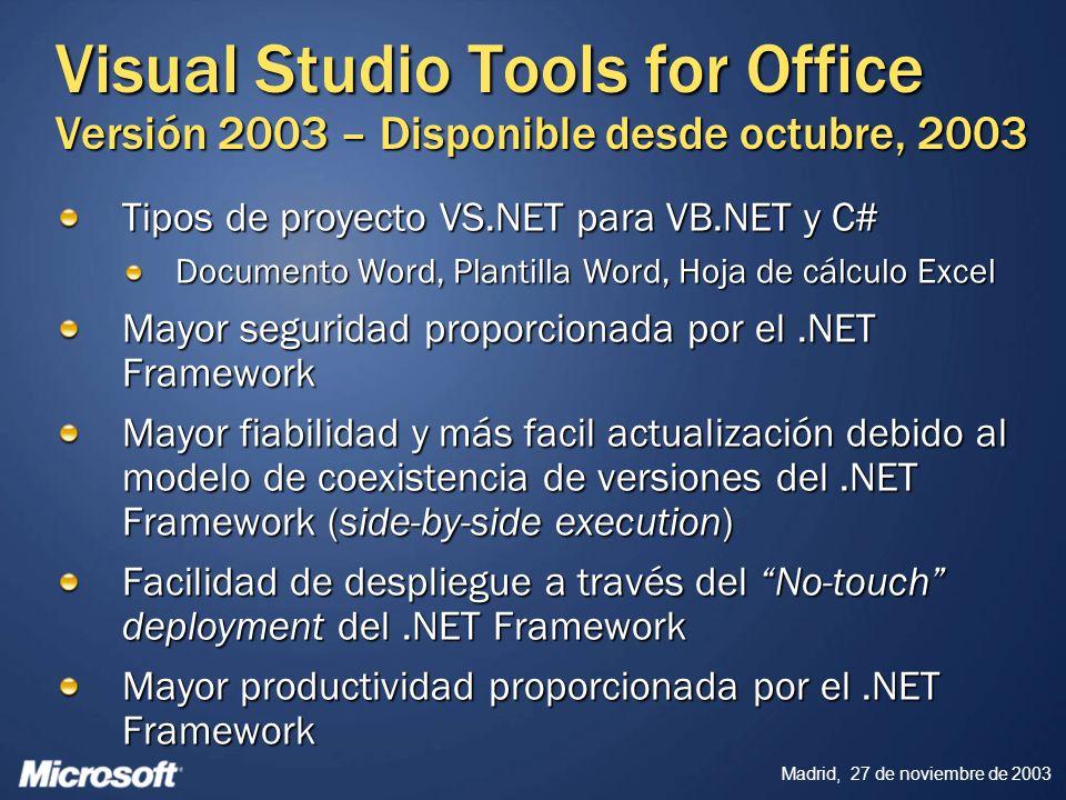 Madrid, 27 de noviembre de 2003 Visual Studio Tools for Office Versión 2003 – Disponible desde octubre, 2003 Tipos de proyecto VS.NET para VB.NET y C#