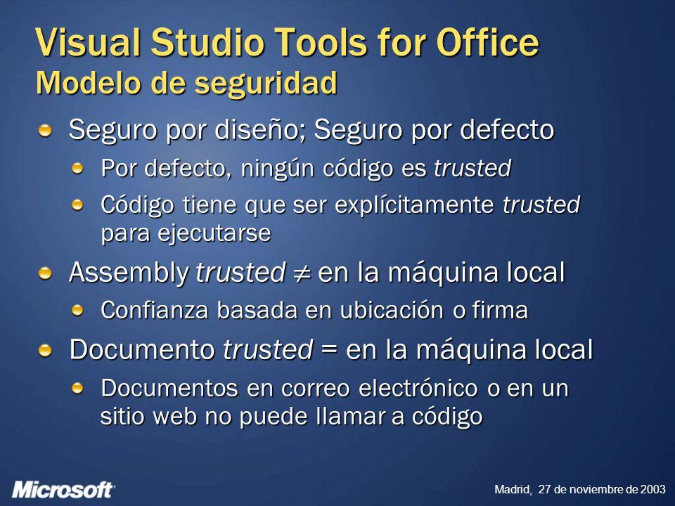 Madrid, 27 de noviembre de 2003 Seguro por diseño; Seguro por defecto Por defecto, ningún código es trusted Código tiene que ser explícitamente truste