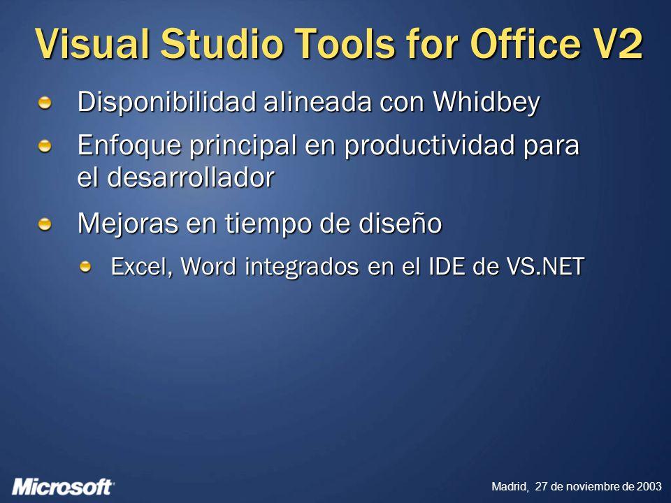 Madrid, 27 de noviembre de 2003 Visual Studio Tools for Office V2 Disponibilidad alineada con Whidbey Enfoque principal en productividad para el desar