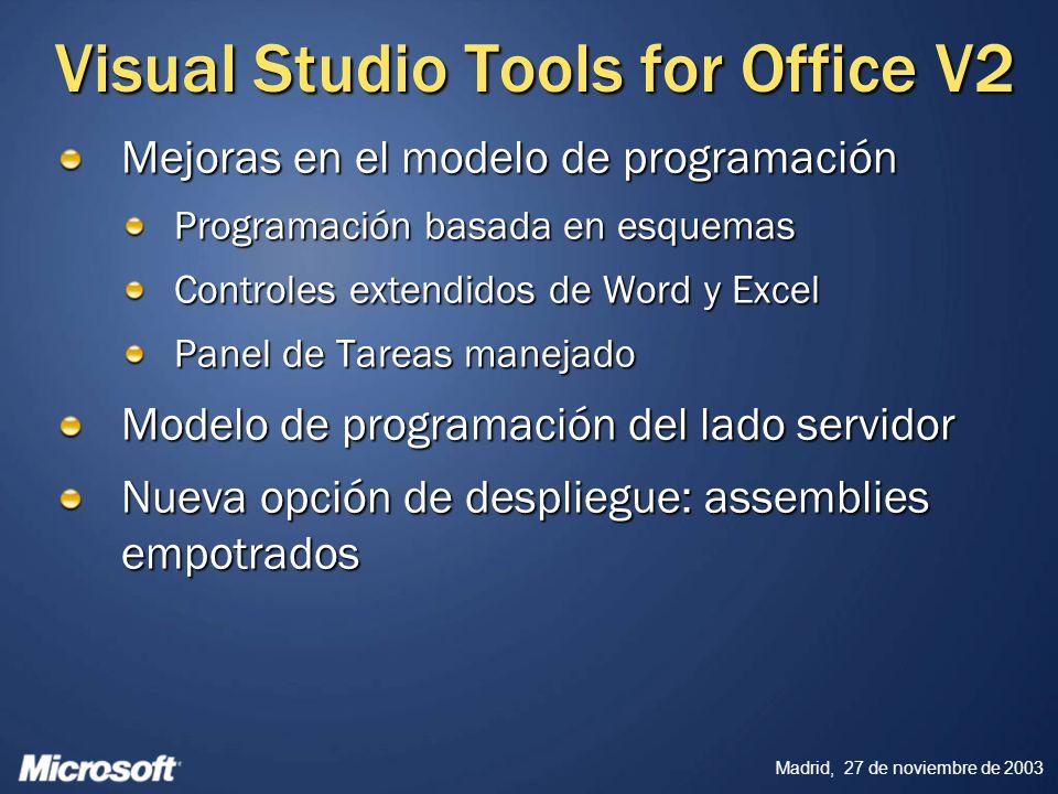 Madrid, 27 de noviembre de 2003 Visual Studio Tools for Office V2 Mejoras en el modelo de programación Programación basada en esquemas Controles exten