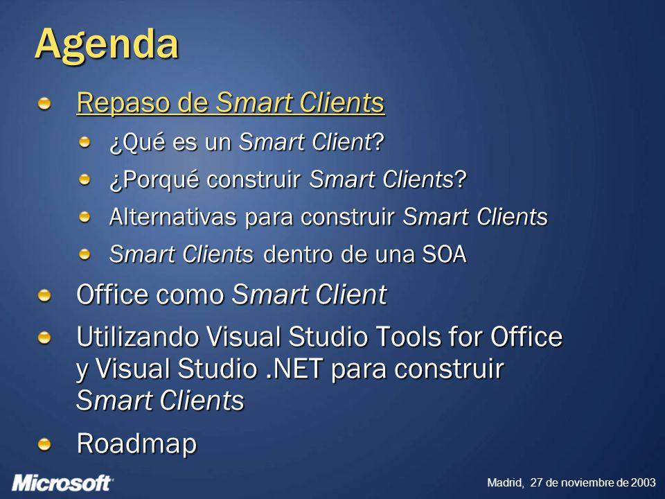 Madrid, 27 de noviembre de 2003 Referencias Architect Web Cast: XML in Word 11 http://www.microsoft.com/usa/webcasts/ondemand/1752.asp http://www.microsoft.com/usa/webcasts/ondemand/1752.asp http://www.microsoft.com/usa/webcasts/ondemand/1752.asp Office 2003 Reference XML Schemas http://www.microsoft.com/office/xml/default.mspx MSDN Web cast: Building Microsoft Office Solutions with Visual Studio Tools for the Microsoft Office System http://www.microsoft.com/usa/webcasts/ondemand/2409.asp http://www.microsoft.com/usa/webcasts/ondemand/2409.asp PDC 2003 Sessions: http://microsoft.sitestream.com/PDC2003/Default.htm http://microsoft.sitestream.com/PDC2003/Default.htm TLS346 – Visual Studio Whidbey: Building Office Solutions with Managed Code TLS344 - Visual Studio Whidbey : Deploying Applications Using ClickOnce