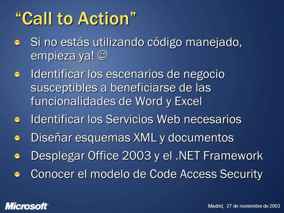 Madrid, 27 de noviembre de 2003 Call to Action Si no estás utilizando código manejado, empieza ya! Si no estás utilizando código manejado, empieza ya!