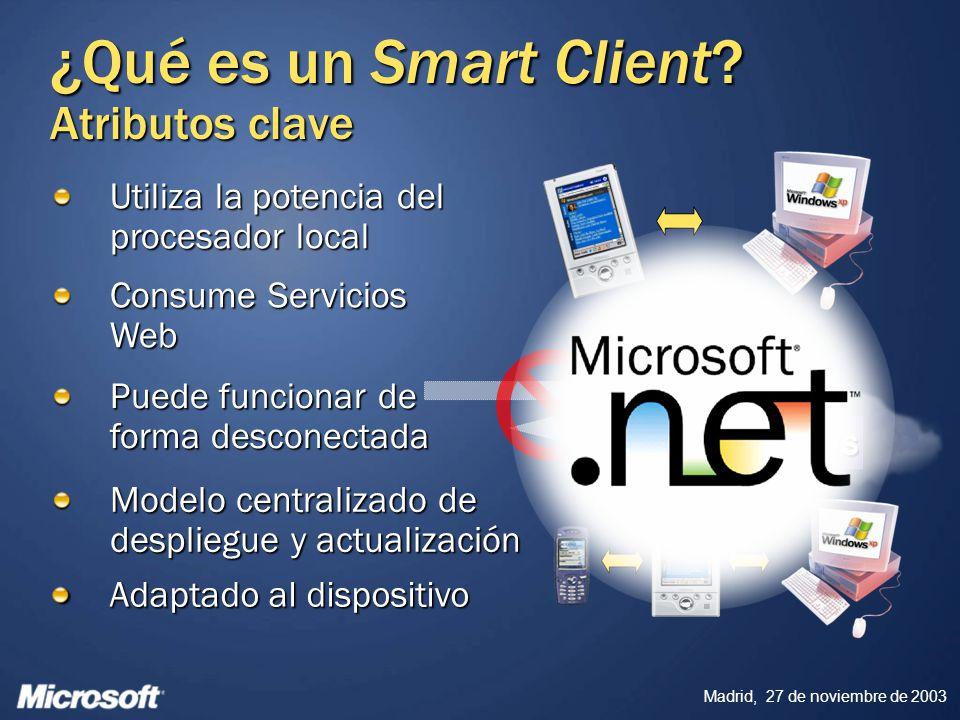 Madrid, 27 de noviembre de 2003 Consume Servicios Web Puede funcionar de forma desconectada Modelo centralizado de despliegue y actualización Utiliza