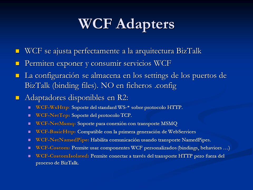 WCF Adapters WCF se ajusta perfectamente a la arquitectura BizTalk WCF se ajusta perfectamente a la arquitectura BizTalk Permiten exponer y consumir servicios WCF Permiten exponer y consumir servicios WCF La configuración se almacena en los settings de los puertos de BizTalk (binding files).