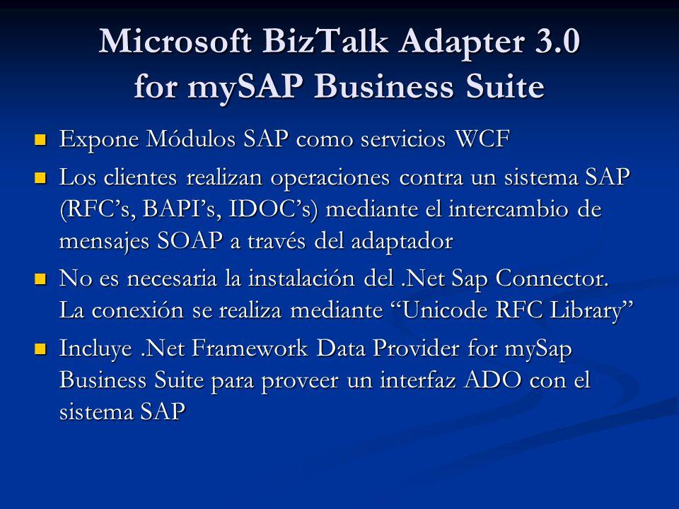Microsoft BizTalk Adapter 3.0 for mySAP Business Suite Expone Módulos SAP como servicios WCF Expone Módulos SAP como servicios WCF Los clientes realizan operaciones contra un sistema SAP (RFCs, BAPIs, IDOCs) mediante el intercambio de mensajes SOAP a través del adaptador Los clientes realizan operaciones contra un sistema SAP (RFCs, BAPIs, IDOCs) mediante el intercambio de mensajes SOAP a través del adaptador No es necesaria la instalación del.Net Sap Connector.