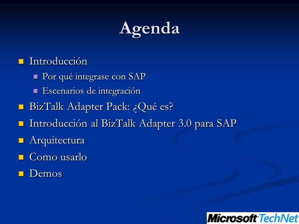 Agenda Introducción Introducción Por qué integrase con SAP Por qué integrase con SAP Escenarios de integración Escenarios de integración BizTalk Adapter Pack: ¿Qué es.