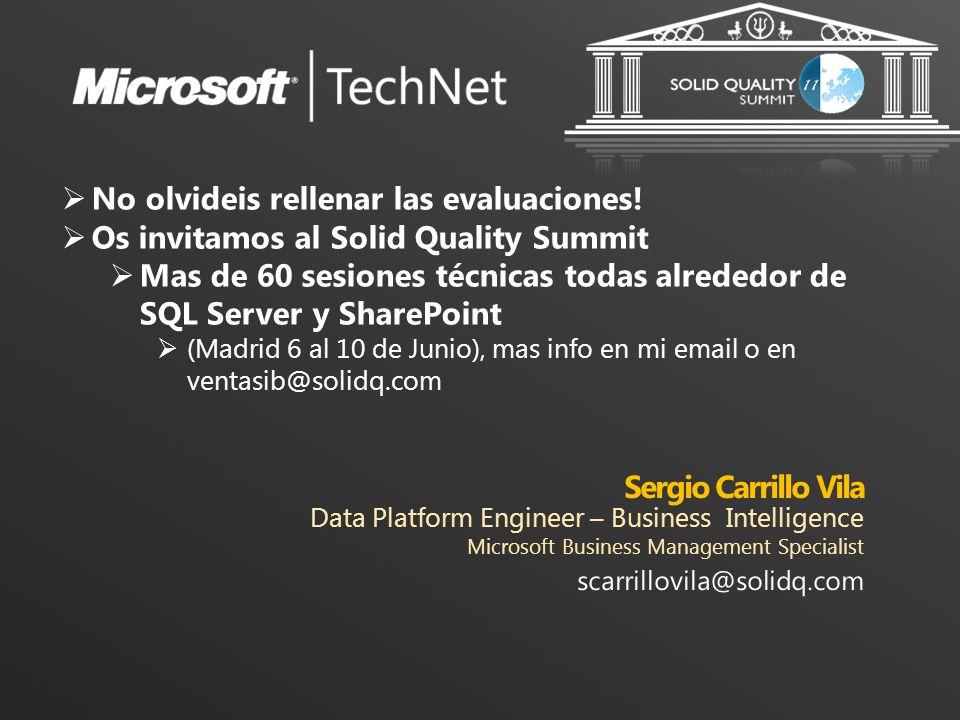 No olvideis rellenar las evaluaciones! Os invitamos al Solid Quality Summit Mas de 60 sesiones técnicas todas alrededor de SQL Server y SharePoint (Ma