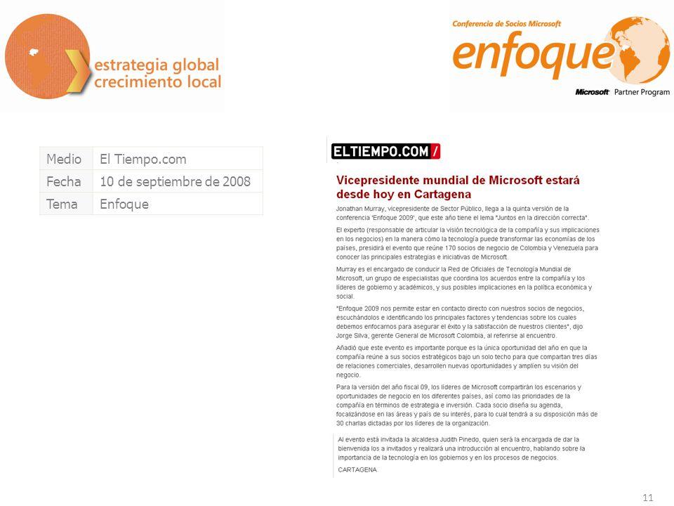 11 MedioEl Tiempo.com Fecha10 de septiembre de 2008 TemaEnfoque