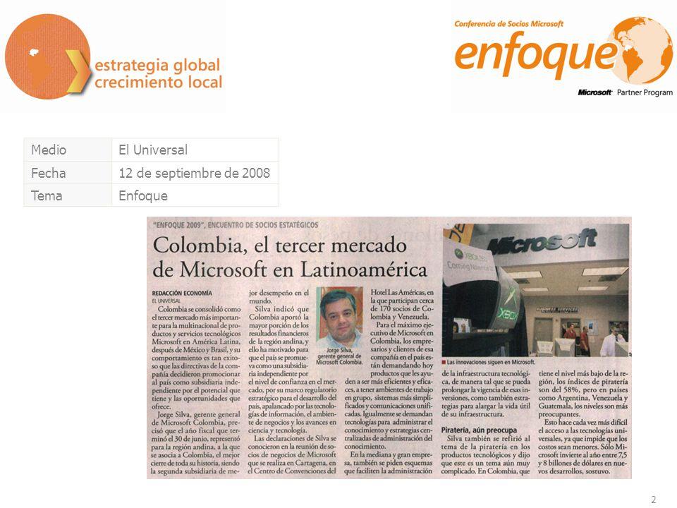 3 MedioDinero.com Fecha12 de septiembre de 2008 TemaEnfoque