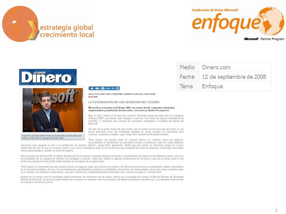 14 MedioCanal UNO (Cuarto Económico) Fecha10 de septiembre de 2008 TemaEnfoque