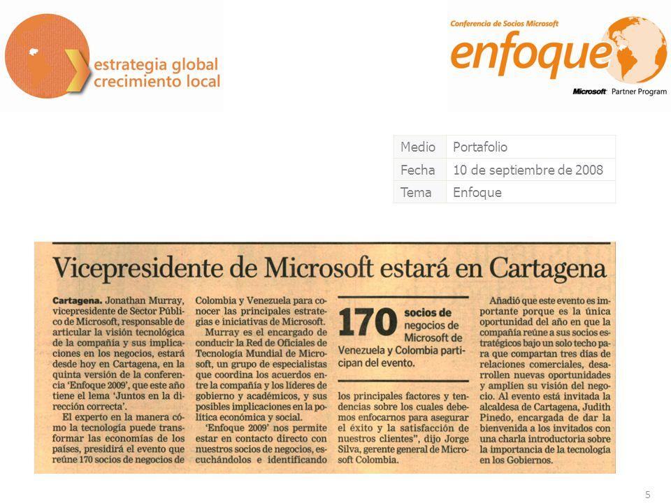 5 MedioPortafolio Fecha10 de septiembre de 2008 TemaEnfoque