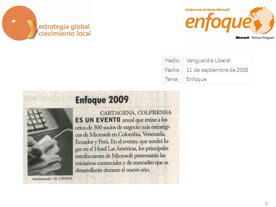 8 MedioVanguardia Liberal Fecha11 de septiembre de 2008 TemaEnfoque