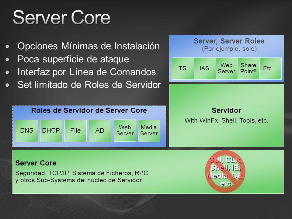 Opciones Mínimas de Instalación Poca superficie de ataque Interfaz por Línea de Comandos Set limitado de Roles de Servidor Roles de Servidor de Server Core Server Core Seguridad, TCP/IP, Sistema de Ficheros, RPC, y otros Sub-Systems del nucleo de Servidor.