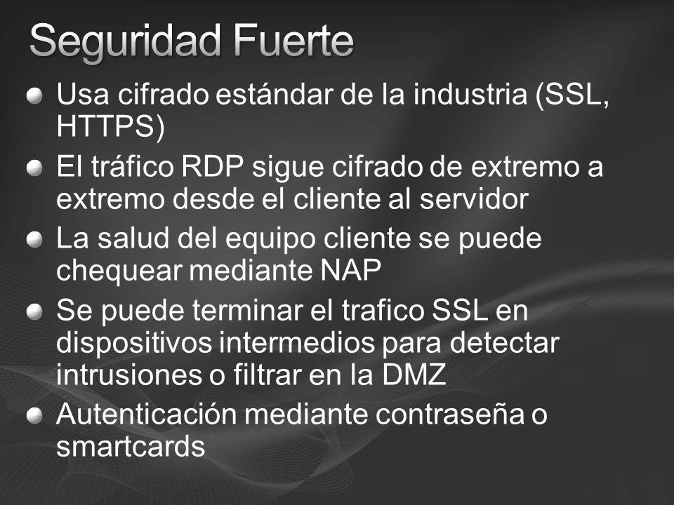 Usa cifrado estándar de la industria (SSL, HTTPS) El tráfico RDP sigue cifrado de extremo a extremo desde el cliente al servidor La salud del equipo c