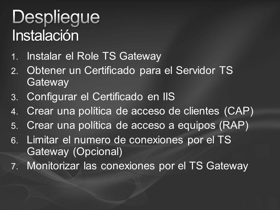 1. Instalar el Role TS Gateway 2. Obtener un Certificado para el Servidor TS Gateway 3. Configurar el Certificado en IIS 4. Crear una política de acce