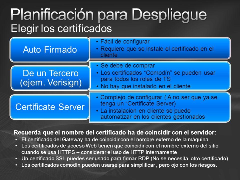 Fácil de configurar Requiere que se instale el certificado en el cliente Auto Firmado Se debe de comprar Los certificados Comodín se pueden usar para