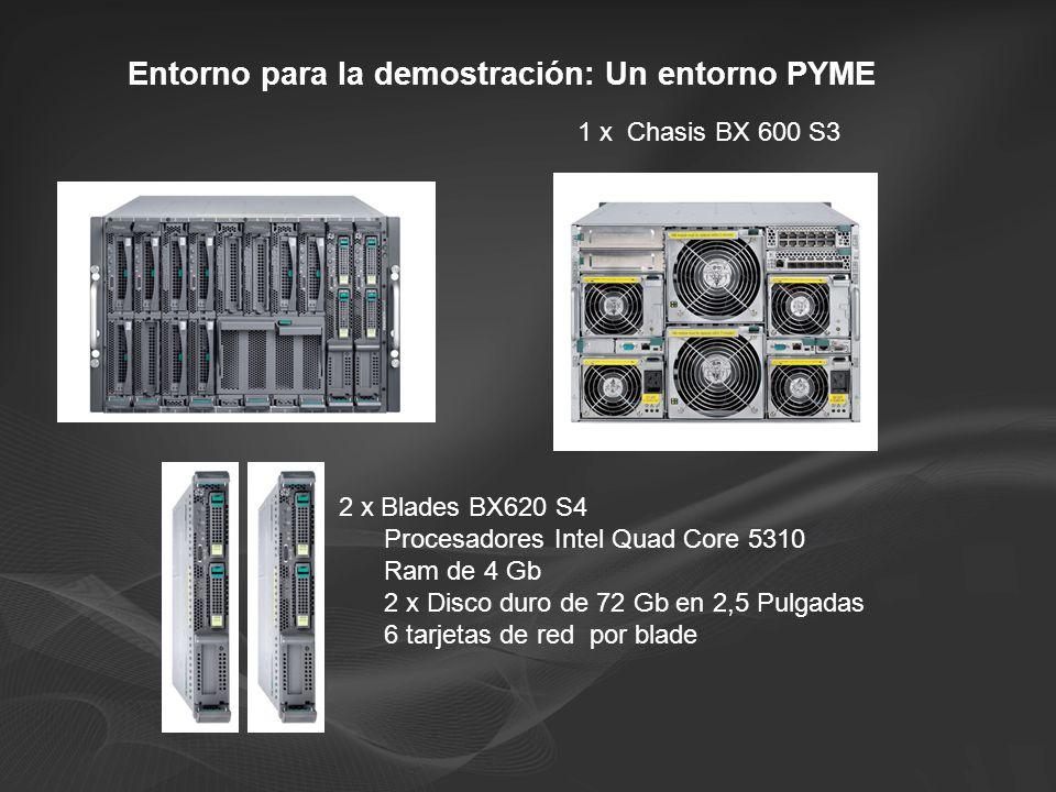 Entorno para la demostración: Un entorno PYME 1 x Chasis BX 600 S3 2 x Blades BX620 S4 Procesadores Intel Quad Core 5310 Ram de 4 Gb 2 x Disco duro de