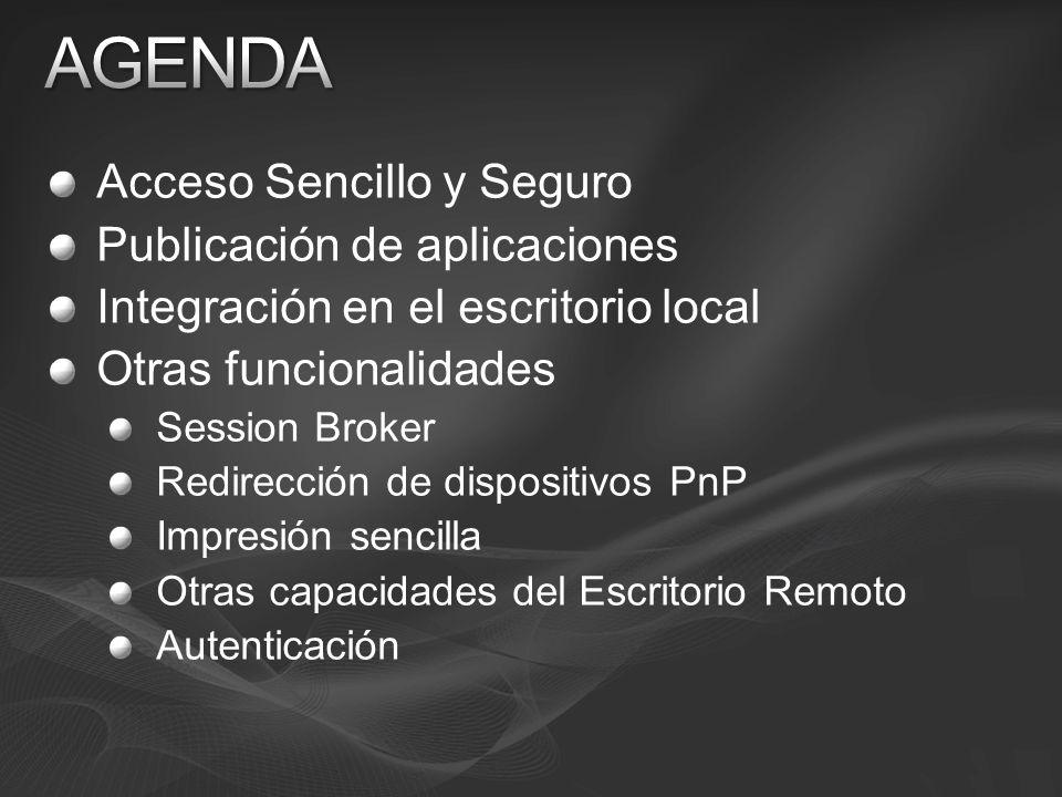 Acceso Sencillo y Seguro Publicación de aplicaciones Integración en el escritorio local Otras funcionalidades Session Broker Redirección de dispositiv