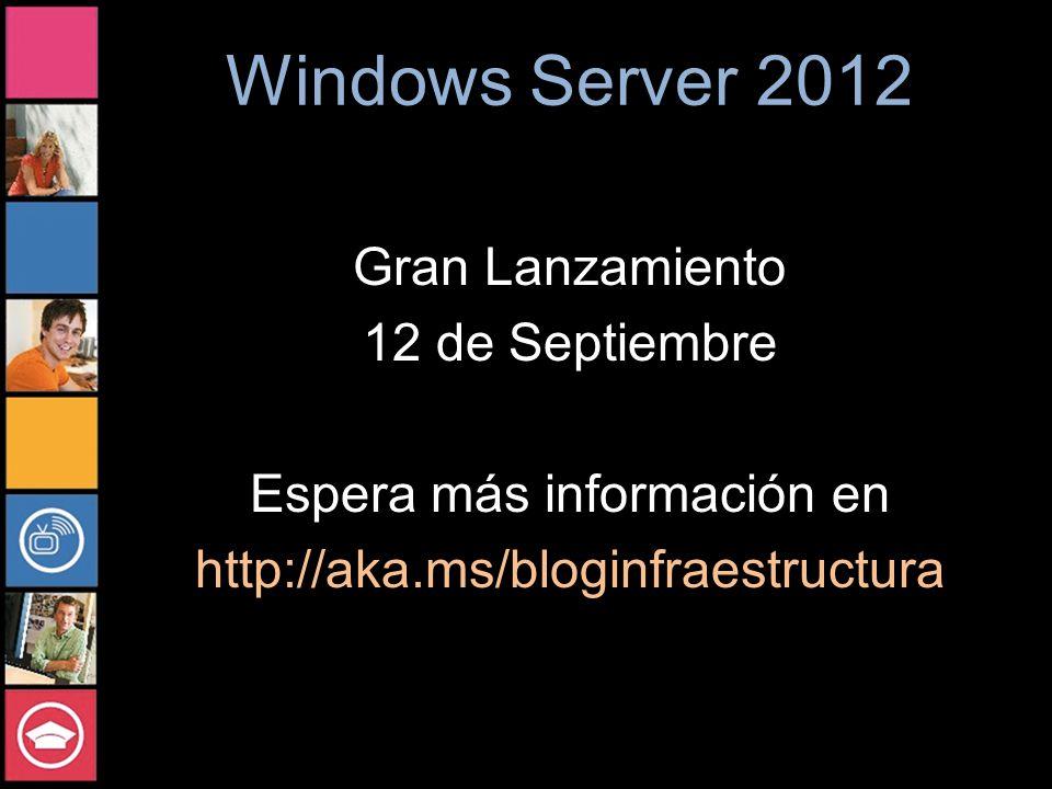 Windows Server 2012 Gran Lanzamiento 12 de Septiembre Espera más información en http://aka.ms/bloginfraestructura
