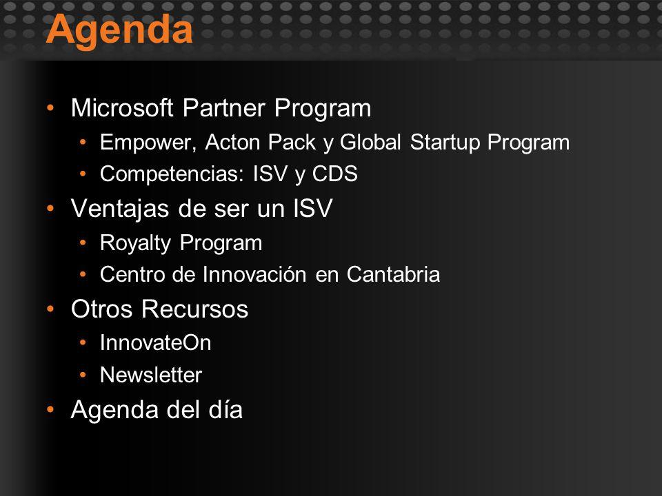 Agenda Microsoft Partner Program Empower, Acton Pack y Global Startup Program Competencias: ISV y CDS Ventajas de ser un ISV Royalty Program Centro de